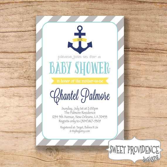 nautical baby shower invitation anchor invitation yellow grey navy