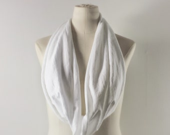 WHITE Cowl Neck Scarf - Infinity Scarf - Cotton Scarf - Available in Many Colors