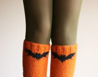 Halloween Bat Boot Cuffs - Boot Tops - Knit Boot Socks - Fall Winter Fashion - Teens Women Accessories
