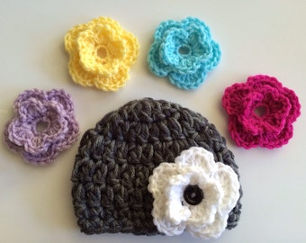 Baby Girl Hat--SALE--interchangeable flowers -crochet- newborn- toddler -child sizes