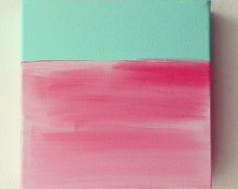 Pink Abstract Acrylic Painting on Deep Edge Canvas -- Art -- Pink Lake