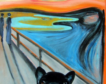 "French Bulldog Art Print of an original oil painting - ""Le Scream"" / 8 x 10/ Dog Art"
