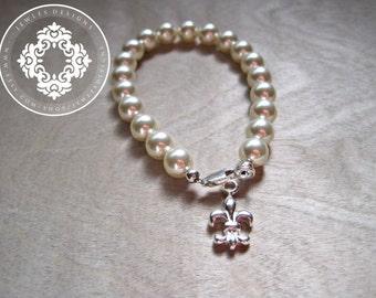 Fleur de lis, silver bracelet - Fleur De Lis bracelet, womens accessories,