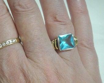 Blue Topaz Ring - 14k Gold and Sterling Silver - Vintage
