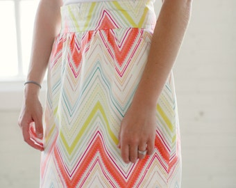 Millie Coral and Mint Chevron Skirt
