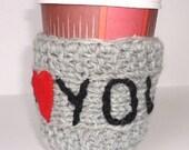Mug Cozy I Love you, Personalized Mug Cozy, any color, any word,  grey color,Coffee Cup Cozy, grey color,  travel cup cozy,,