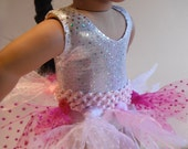 Doll Clothes Sparkling Tutu In Pastel Pink Hot Pink and White Fits Most 18 Inch Dolls