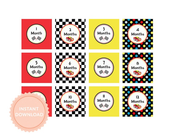 INSTANT DOWNLOADS, Printable 1st Year - MILESTONE Photo Tags -Race Car