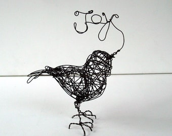 Unique Wire Bird Sculpture - Word Art - JOY