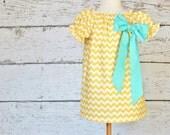 Yellow Chevron Peasant Dress - Easter Big Bow Dress