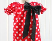 Mickey Mouse Inspired Red Polka Dot Peasant Big Bow Dress
