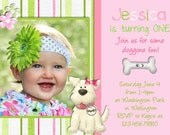 Puppy Dog Girl Birthday Invitation Pink and Lime Green Photo Card Design Printable Custom Invite