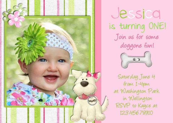 Puppy Birthday Invitation - Girl Puppy Party - Pink Dog Invitation - Dog Birthday Party