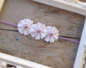 White Felt Daisy Trio Lavender Baby Headband Baby Girl Headbands Easter Headbands Toddler Headband Flower Headbands  Felt Flowers