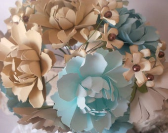 Seaside Inspired paper floral bouquet, 16 wild tattered mums and pearl center hydrangeas, beautiful paper wedding bouquet, bridal bouquet