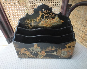 Black Lacquer Letter holder Asain themed three sec vintage