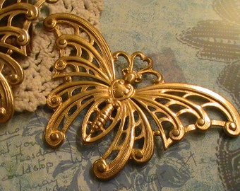 1pc Large Brass Butterfly Raw Brass Stampings Vintage Style Brass Findings Jewelry Supplies Mix Media Collage Assemblage Jewelry Altered Art