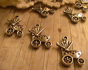 10pcs Antique Silver Baby Carriage&Buggy Charms Findings One Sided Charm Baby Shower Commercial Jewelry Supplies Findings 97th Street Supply
