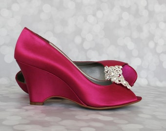 Wedding Shoes Fuschia Peep Toe W Edge Wedding Shoes With Square