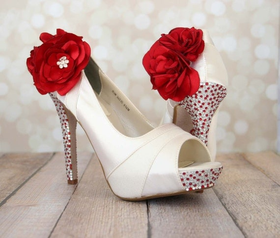 wedding shoes red wedding shoes ivory platform peep toe by designyourpedestal 1130