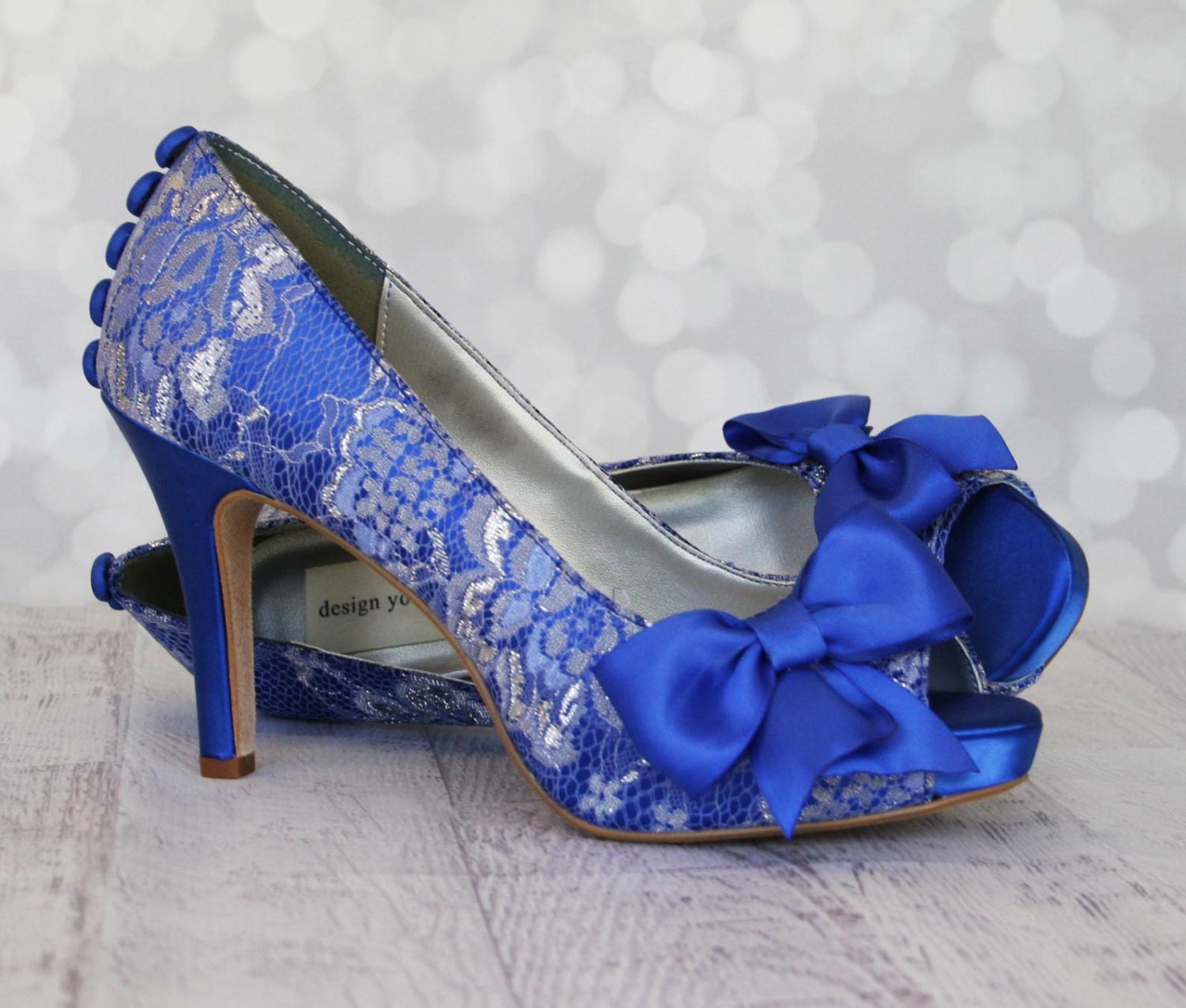 Wedding Shoes Royal Blue Platform Peep Toe Custom Wedding