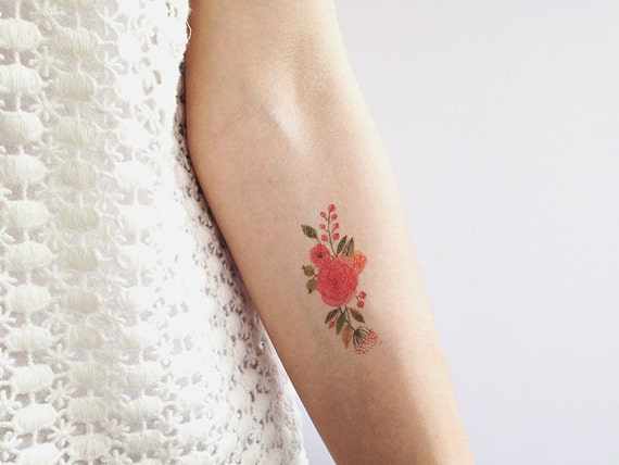 Floral temporary tattoo for Wash off temporary tattoos