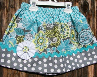 Girls Skirt Custom infant toddler skirt...Powder N Pastel Flowers..Available in 0-12 months, 1/2, 3/4, 5/6, 7/8, 9/10 Bigger Sizes Available