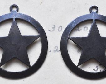 FOUR Brass Star in circle charms, black satin finish