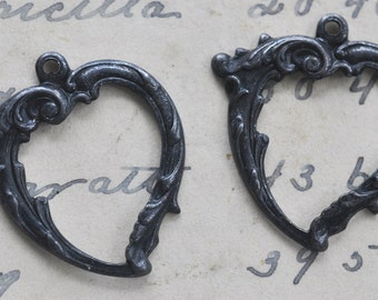 Two Wavy Heart Brass Charms, Black Satin Finish