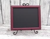 Shabby Chic OxBlood Red Framed Chalkboard, 8 x 10 Chalkboard, Upcycled Framed Chalkboard, Wedding Chalkboard, Menu Chalkboard
