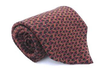 J Blades & Co Vintage Men's Silk Necktie, Fall Color Tie, Black, Red, Orange, Gold, Green