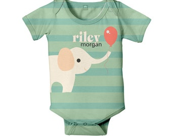 Baby Bodysuit, Personalized Elephant Balloon Gender Neutral Boy Girl Infant One Piece, Snapsuit