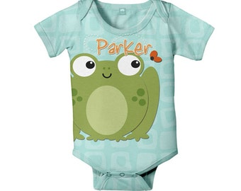 Personalized Frog Bodysuit, Infant Baby One-Piece, Custom Onepiece Outfit
