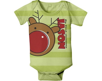 First Christmas Baby Bodysuit, Personalized Reindeer Infant One-Piece, Childrens holiday clothing