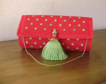 Bright Red and Lime Green Clutch--Placemat Bag