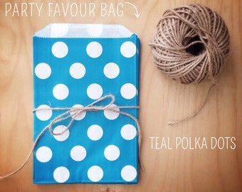 Teal Polka Dot Party Favour Bags - 5 x 7 inch Favor Gift Bag - Packet of 12