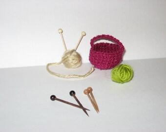 """Handmade Miniature Wooden Knitting Needles 1 1/2"""" long"""