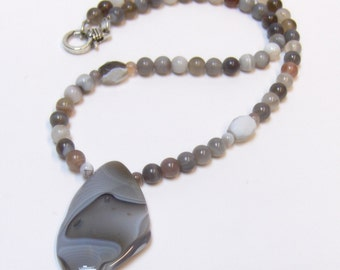 OOAK Dove Grey Botswana Agate & Bead Necklace // Gemstone Jewelry