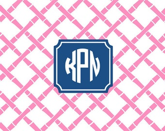 72 Color Choices -Bamboo Monogram Placemat