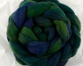 Hand-dyed Haunui New Zealand Halfbred combed wool roving (tops) -  Deep Cove over Dark Grey