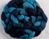 Hand dyed combed NZ Merino wool for felting and spinning - 100gr - Spilt Ink