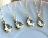 15% OFF SET OF 7 Crystal Clear Necklace Gold Wedding Jewelry - Set of 7 Necklaces Bridesmaid Gift Bridesmaid Jewelry Crystal Bridal Jewelry