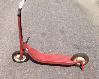 Vintage Metal Toy Sports Scooter red with hand painted white hearts.