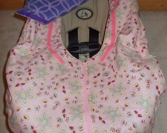 Baby Girl Car Seat Cover Infant Pink Floral Cotton Purple Fleece Carseat