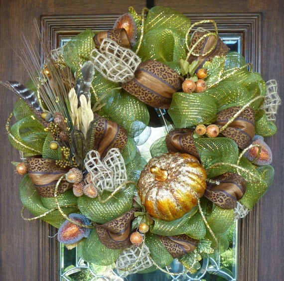 Deco Mesh FALL SPARKLE PUMPKIN Wreath with Leopard Print Ribbon