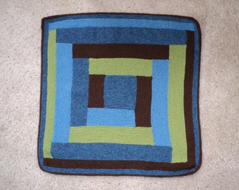 Hand Knit Square Log Cabin Baby Blanket in Blue Green Brown