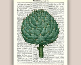 Artichoke art print, Kitchen art, artichoke decor, vegetable art, artichoke kitchen decor, artichoke dictionary page, food art, 11x14