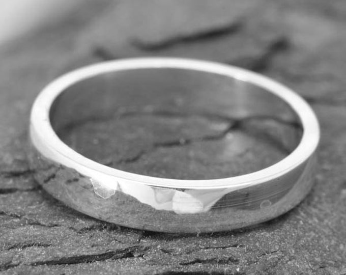 14K palladium white gold ring, 3mm x 1mm, flat, wedding band, wedding ring, square, mens wedding ring, mens wedding band, size up to 9