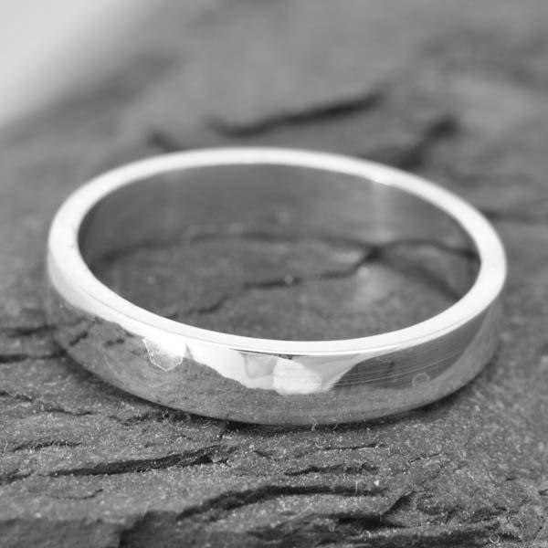 14K Palladium White Gold Ring 3mm X 1mm Flat Wedding Band