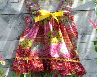 Very fun colorful girls double ruffle dress great for birthdays,birthday party,photo shoots,photo prop